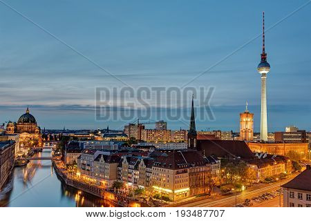The Alexanderplatz with the Television Tower in Berlin at night