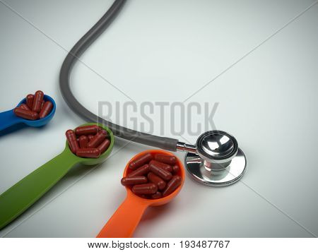 Stethoscope And Red Capsules Pills On Colorful Measuring Spoon On White Background. Increase The Dos
