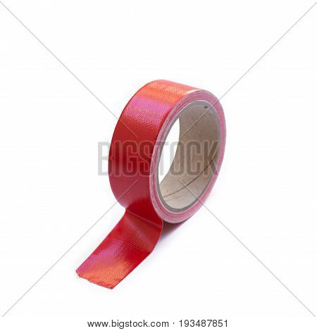 adhesive tape red isolated on white background.