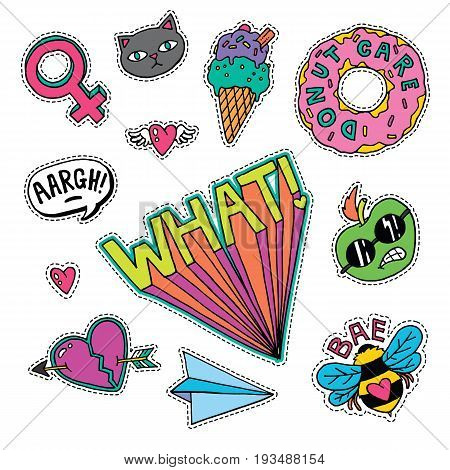 A set of quirky cartoon patch badges or fashion pin badges.