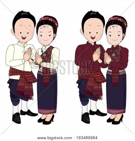 wedding couple cartoon vectorbride and groom in north-east thai traditional suit press the hands together at the chest with happy face.