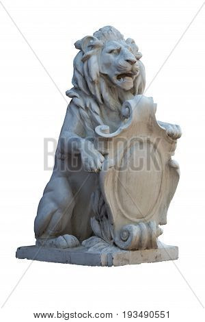 Stone marble statue of lion with coat of arms isolated on white background. Side view.