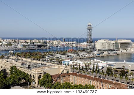 View from cable car from above on Barcelona sea port cable car station ships yachts