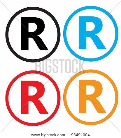 set registered trademark icon on white background. registered trademark sign.