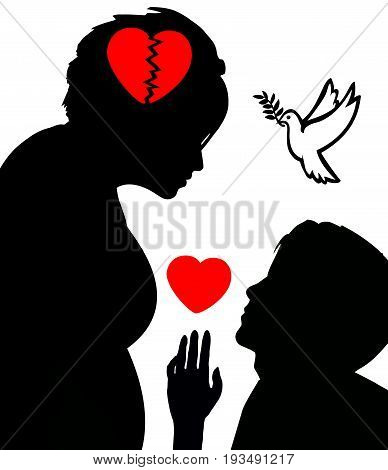Conflict to Peace. Concept illustration of marriage conciliation to fix broken hearts