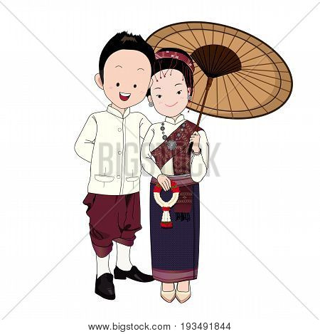 Wedding Cartoon Vector Groom In North-east Thai Traditional Suitbride Holding Vintage Umbrella And T