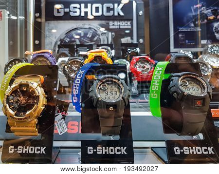 Nowy Sacz Poland - June 30 2017: Casio G-Shock watches for sale in a shop window. G-Shock is a line of watches manufactured by Casio designed to resist mechanical shock and vibration.