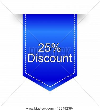 blue 25% Discount label on white background - illustration