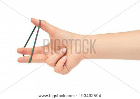 Female Hands Hold A Rubber Band. Isolated On White Background