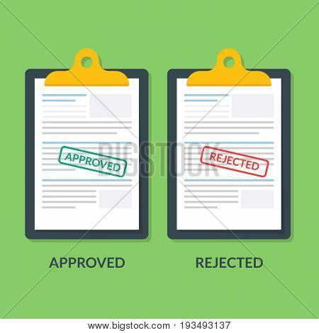 set of documents on the clipboard. Printing is approved or reject. Tax return or credit document. Business documentation. Premium quality vector illustration in flat style