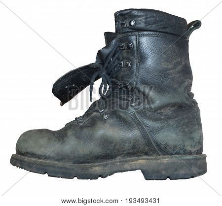 old black boot isolated on white background