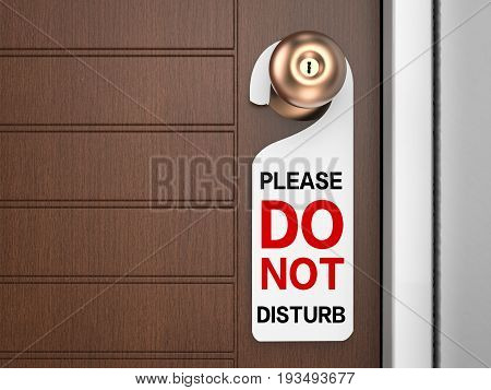 3d rendering, do not disturb sign hanging on door