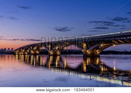 Metro Bridge. Metro Dnipro in Kyiv. Ukraine. City landscape. Bridge across the river.