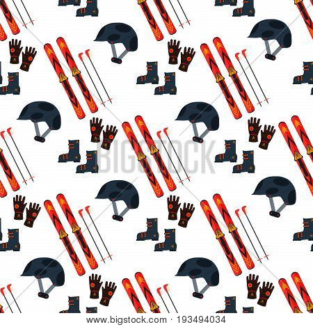 Ski and sticks vector illustration seamless pattern on white background. Ski winter sport equipment snow mountain tools leisure. Cold extreme slope fun active winter skiing sport recreation.