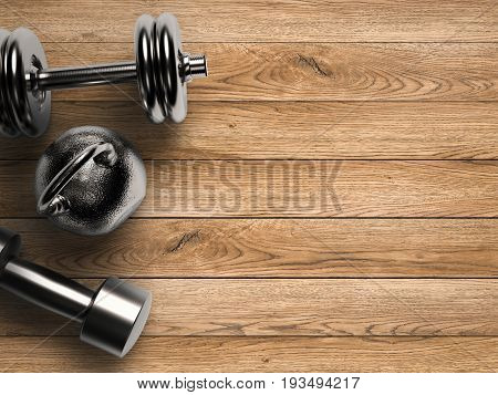 workout concept with 3d rendering kettle bells and dumbbells