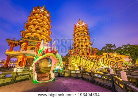 Kaohsiung, Taiwan Lotus Pond's Dragon and Tiger Pagodas at night.