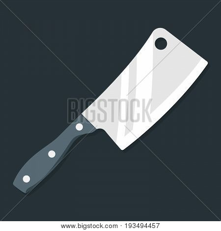 Butcher knife. Kitchen knife and meat knife vector illustration in flat style on a gray background. Top view. Premium quality image