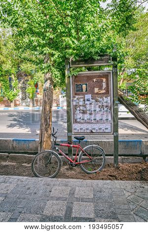 YAZD, IRAN - MAY 5, 2015: Public bulletin board in the old part of the city.