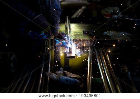 Carbon dioxide welding, work hot firework sparks