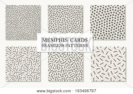 Collection of seamless memphis patterns, cards. Mosaic textures. Trendy repetitive backgrounds. Retro design 80 - 90s.