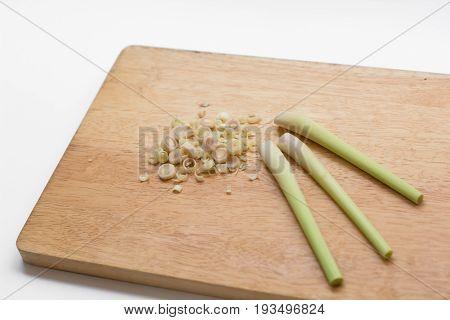 lemon grass on wooden, Herbs, Fresh lemongrass