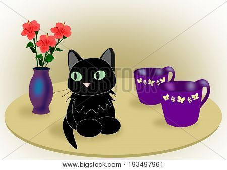 A black cat sitting on a table with two cups and a vase of hibiscus.