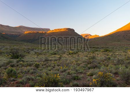 Majestic Landscape At Karoo National Park, South Africa. Scenic Table Mountains, Canyons And Cliffs