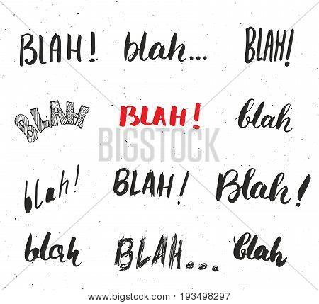 Blah blah words hand written set vector illustration isolated on white background