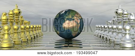 Chessboard with earth planet and grey sky - 3D render
