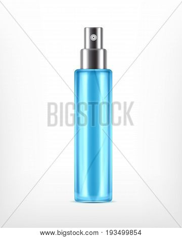 Ice toner. Realistic cosmetic spray bottle isolated on white. Design for ads or magazine. 3d illustration. EPS10 vector