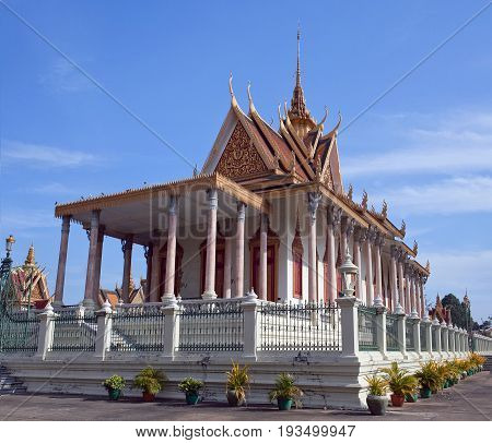 Silver Pagoda in Phnom Penh, Cambodia. Iit was known as Wat Ubosoth Ratanaram. The temple's official name is Preah Vihear Preah Keo Morakot which is commonly shortened to Wat Preah Keo in Khmer.