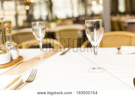 Empty glasses set in restaurant closup on a table