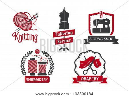Tailoring service icons set for atelier tailor or dressmaker knitting and drapery salon. Vector isolated symbols of sewing machine, dress on dummy mannequin, scissors or threads and knit needles