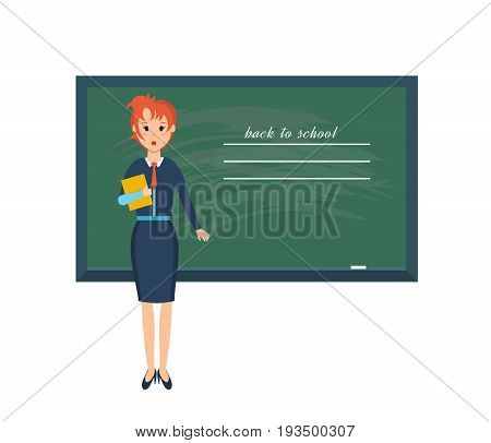 Modern teaching and education system. Young teacher with pointer beside blackboard in classroom on white background. Vector illustration, people in cartoon style.