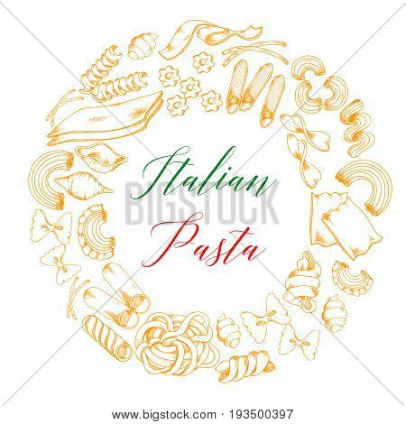 Pasta poster of spaghetti, fettuccine and farfalle macaroni for Italian cuisine. Vector design of ravioli, lasagna or hand-crafted tagliatelle, stelle or funghetto and papardelle pasta for restaurant