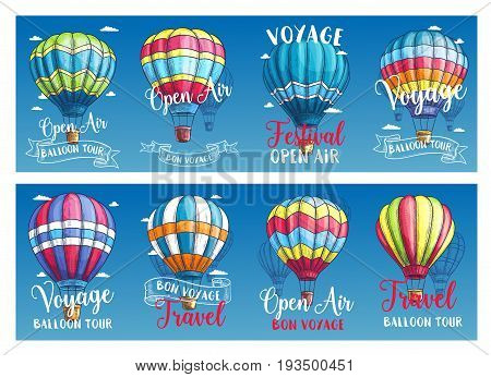 Hot air balloon festival or entertainment travel voyage banners for tourism agency or vacation tour holidays. Vector balloons sketch design with patterns of zig zag, checkered and stripes