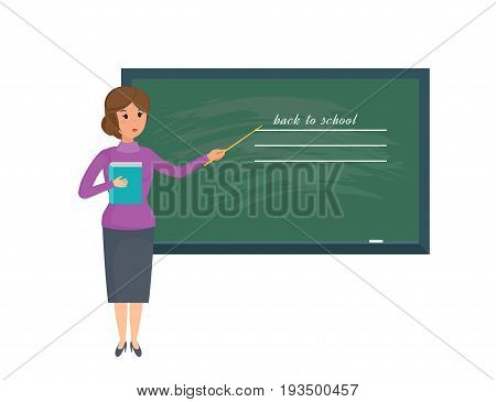 Modern teaching and education system. Girl teacher with pointer and school journal in hand, stands, explains material in sphere education in classroom. Vector illustration isolated in cartoon style.