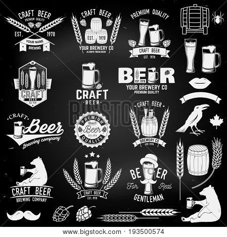 Set of Craft Beer badges with with design elements on the chalkboard. Vector illustration. Vintage design for bar, pub and restaurant business. Coaster for beer.