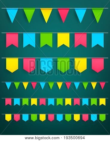 Flag garlands set of bunting paper flags on thread for carnival or festival celebration, Christmas party and happy birthday decor. Vector isolated square and triangle flags for design template