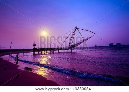 Sunset Scene Of Kochi Chinese Fishnets, Kerala. Fort Kochin, Kochi, Kerala, South India With Beautif