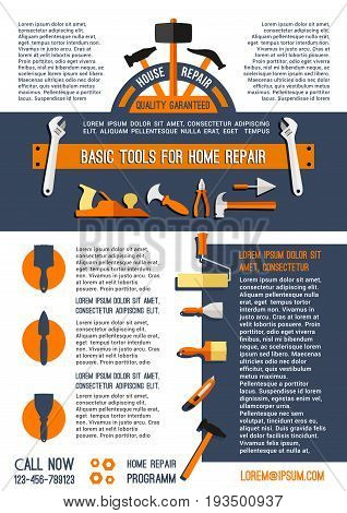 Home repair poster vector template for house finishing and painting service of work tools or instruments of paint brush and mallet, hammer or trowel and spanner wrench or screwdriver and bolts