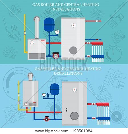 Boiler and central heating installations, flat heating concept, banner, logo. For web design and application interface. Vector illustration.