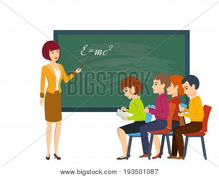 Modern teaching and education system. Young woman teacher at a lesson, near blackboard in the classroom, teaches students and tells information material. Vector illustration, people in cartoon style.