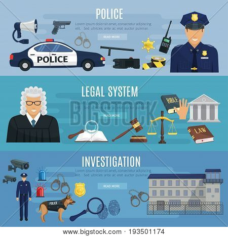 Police, legal system and investigation banners set. Vector design of policeman car, sheriff badge, fingerprint in magnifier and investigator dog, handcuffs and jail, judge in court, gavel and low code