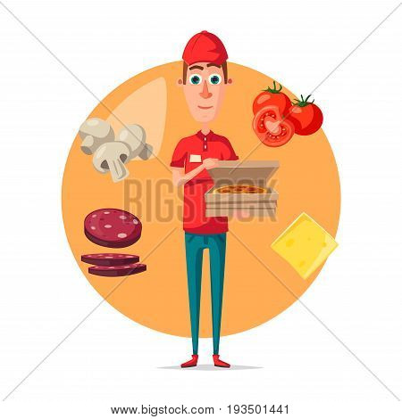 Pizza delivery man vector poster for pizzeria restaurant or fast food cafe design. Vector courier boy delivering pizza box in hand in uniform with tomatoes, cheese or salami and mushrooms topping