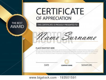 Gold and black label Elegance horizontal certificate with Vector illustration white frame certificate template with clean and modern pattern presentation