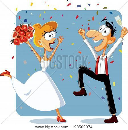 Funny Bride and Groom Dancing at their Wedding Vector