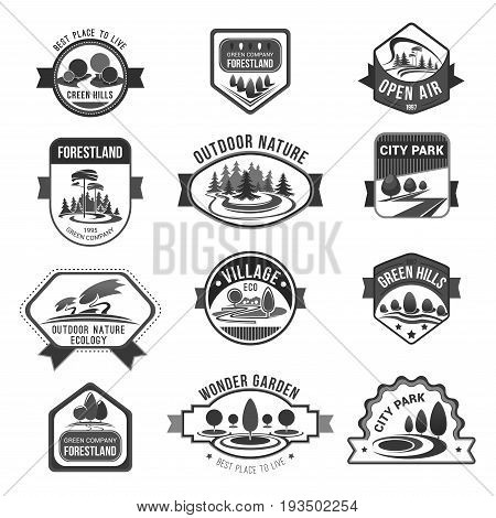 Green hills or forestland and urban eco village icons set for horticulture or gardening company. Vector isolated symbols of nature parks and outdoor ecology gardens or woodlands and forest trees
