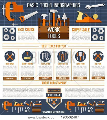 Home repair work tools infographics or landing page template. Vector house finishing design and painting instruments of paint brush, screwdriver or wrench and hammer or trowel in toolbox for sale