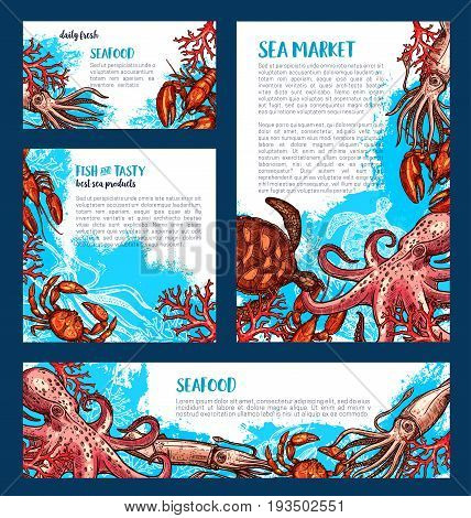 Fresh fish and seafood market posters and banners templates set of vector octopus, squid or shrimp and lobster, fisher big catch of turtle, prawn and oyster or mussels and crab for sea food shop